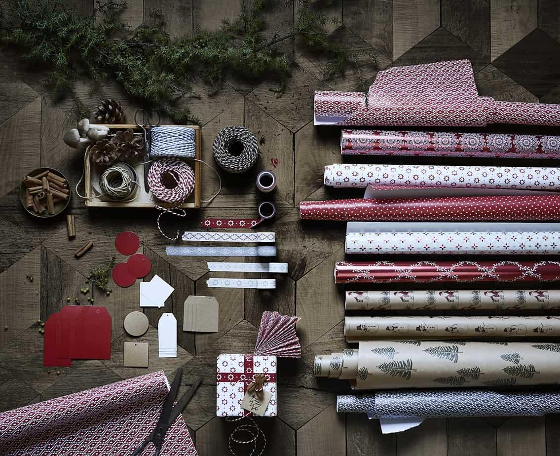 nouvelle collection noel ikea papier cadeau rouge et blanc