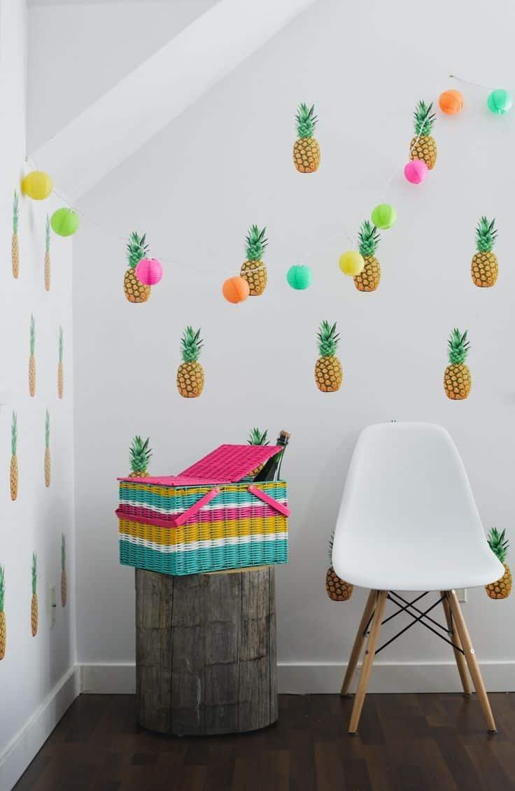 papier peint au motif ananas