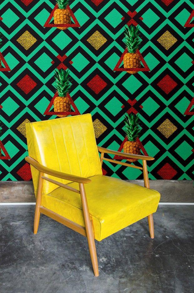 L 39 ananas se fond dans la d co sur pinterest - Papier peint psychedelique ...