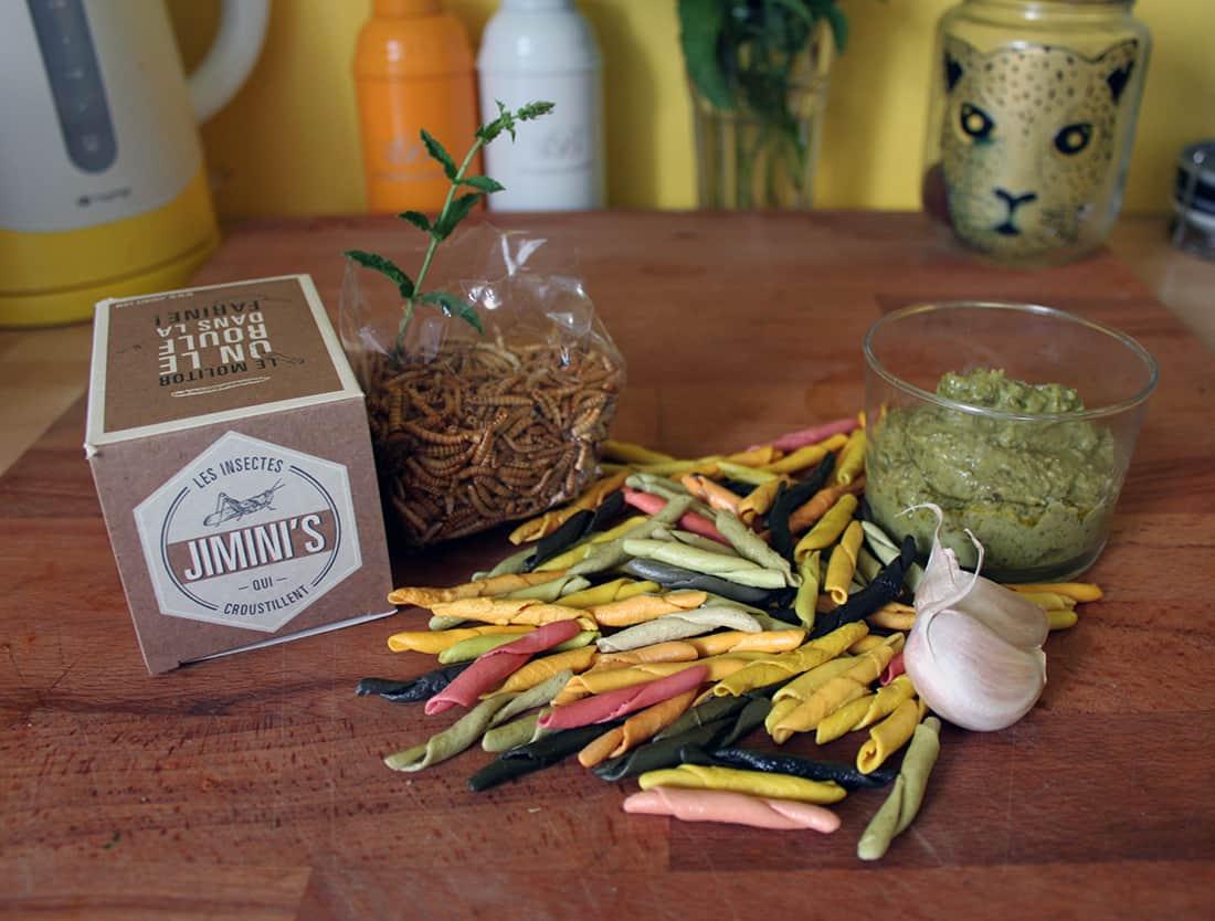 les differents ingredient pour la recette des  insectes comestibles