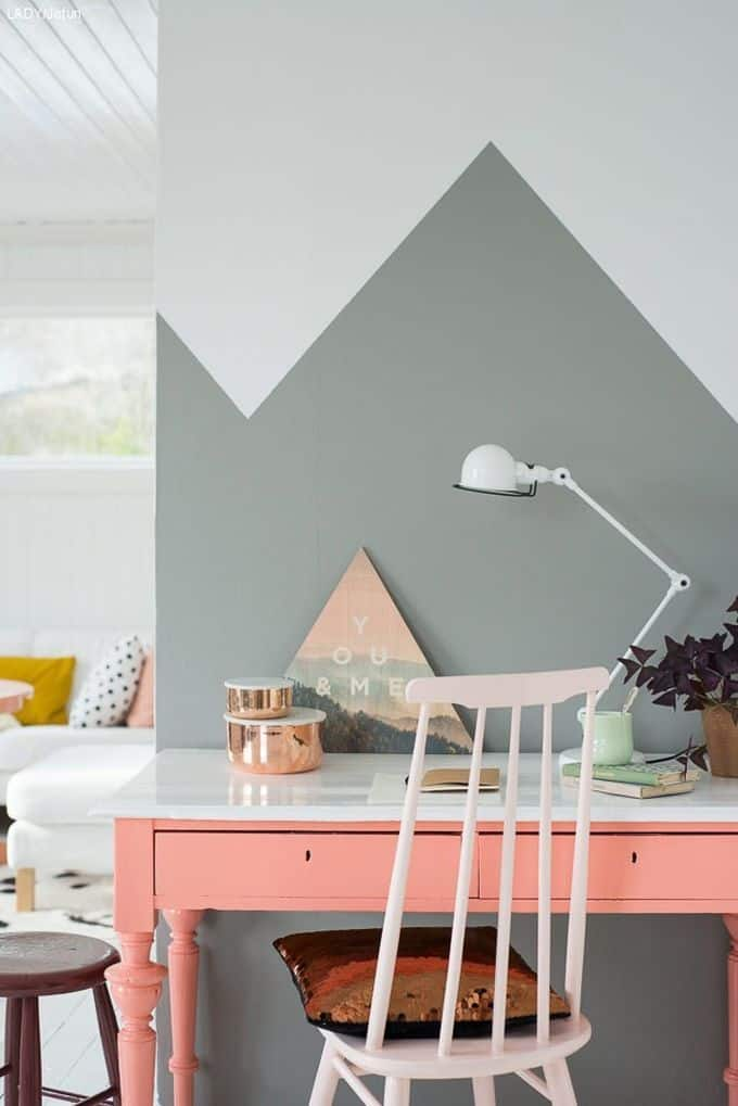bureau colore avec motif aux murs