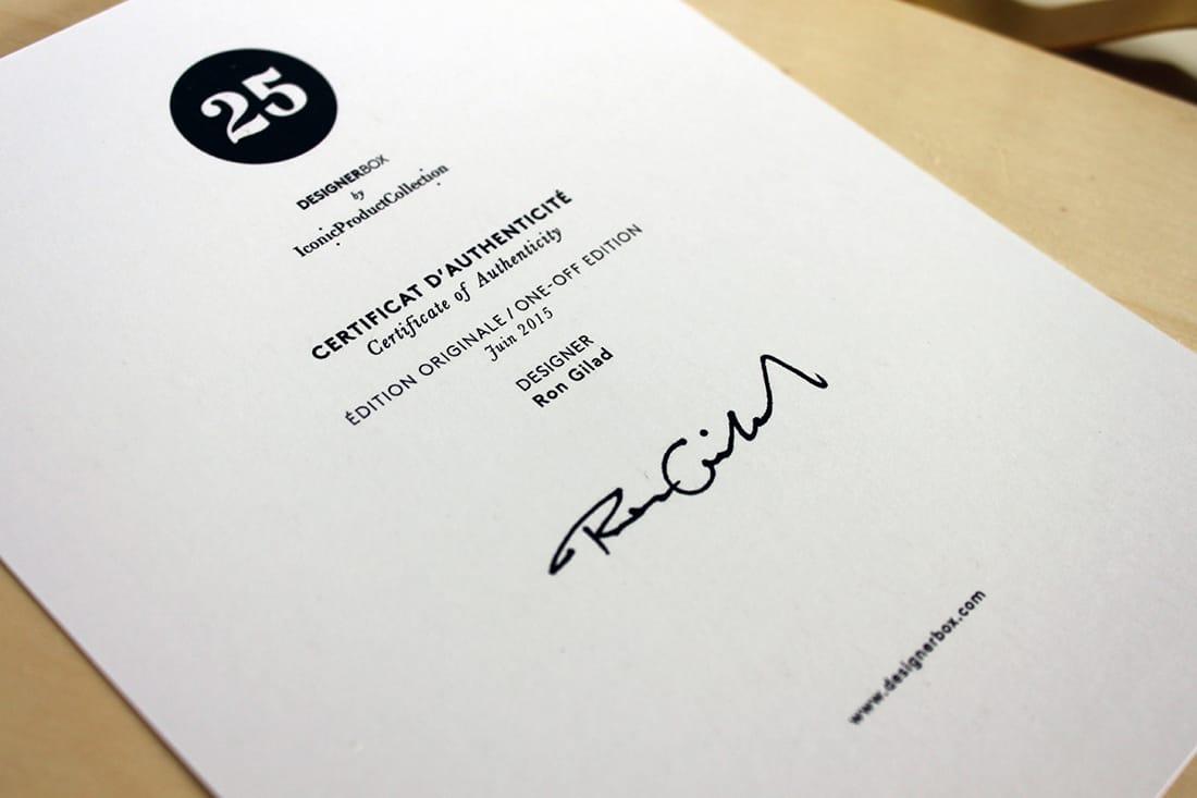 le certificat d'authenticité de la designer box