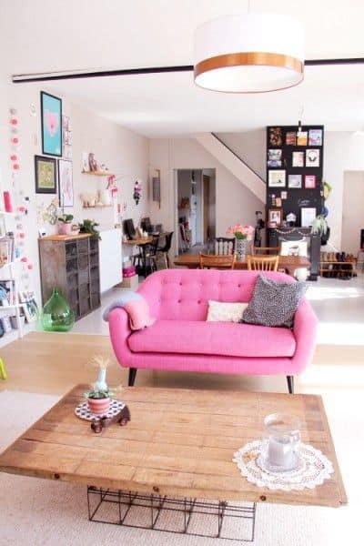salon canape couleur rose
