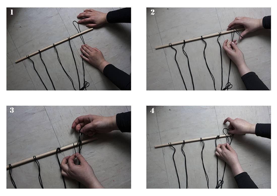 les etapes pour realiser une suspension en macrame
