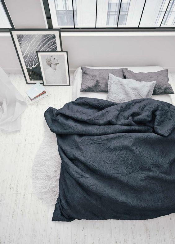 lit sol linge de lit lin noir