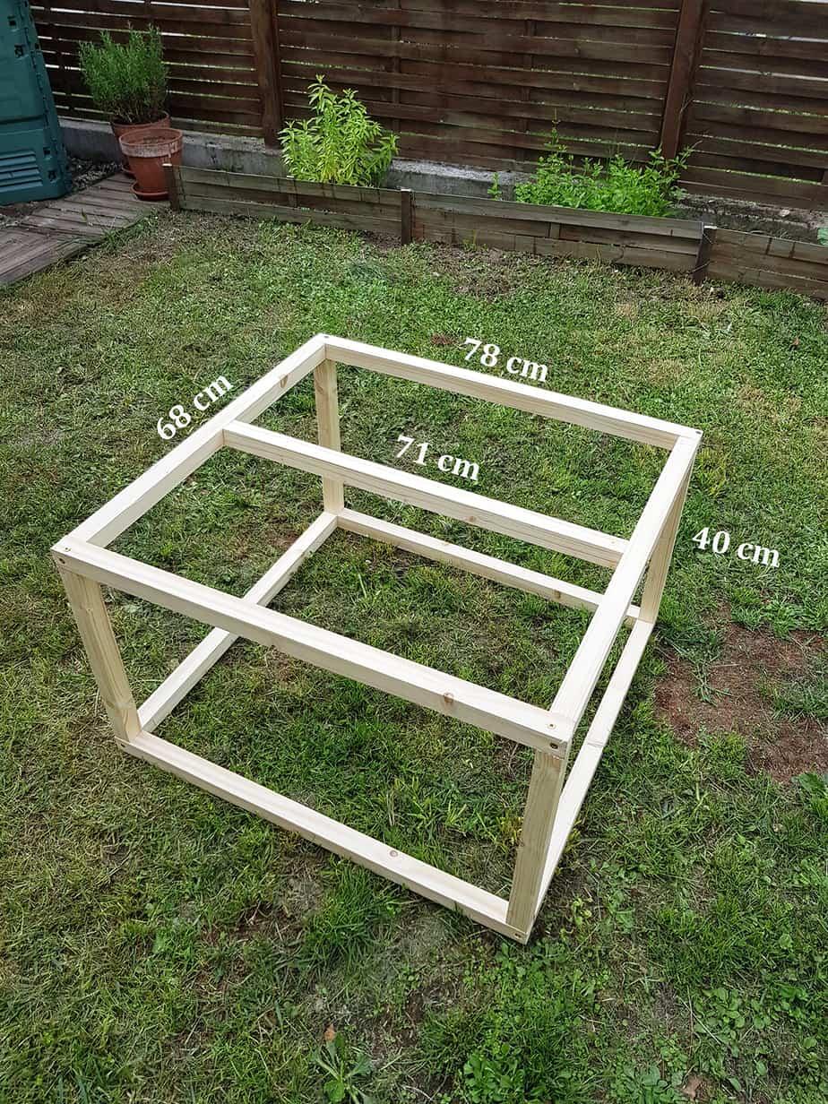 structure bois table basse industrielle