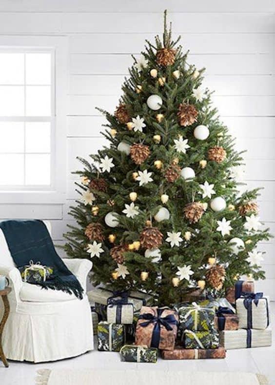 des pommes de pin dans le sapin de noel  - Le sapin de Noël :  comment réussir à le décorer ?