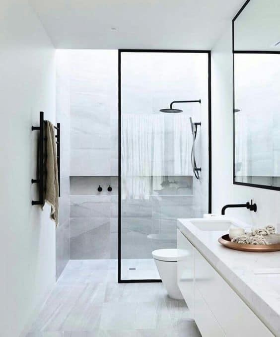 paroi avec cadre douche a litalienne - 5 parois irrésistibles pour une douche à l'italienne tendance