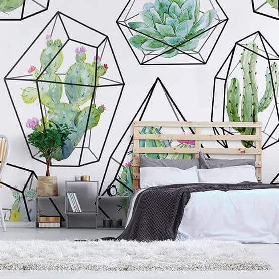 papier peint cactus Pixers chambre