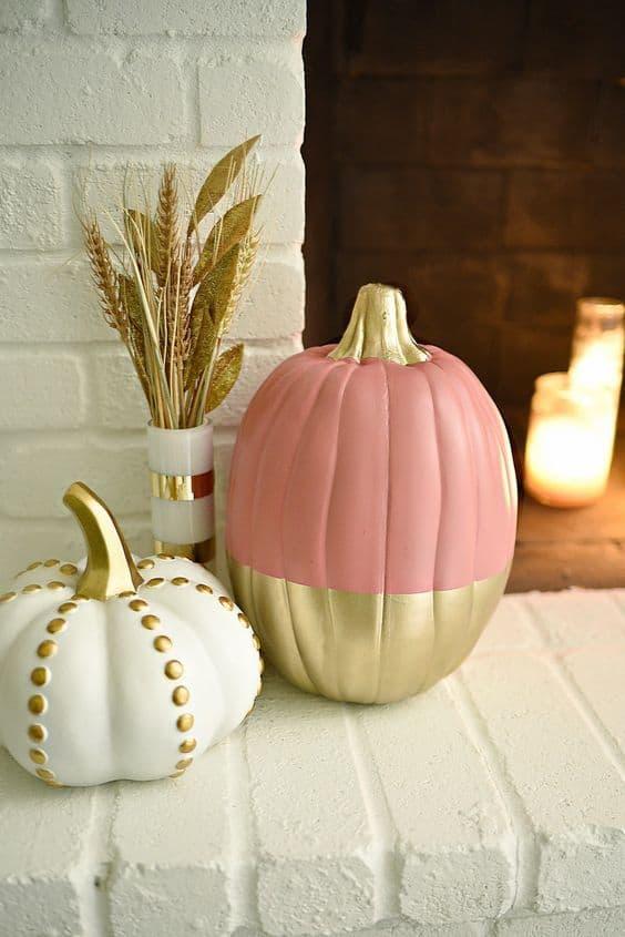 décorer citrouille dhalloween doré et pastel - 15 DIY originaux pour décorer la citrouille d'Halloween