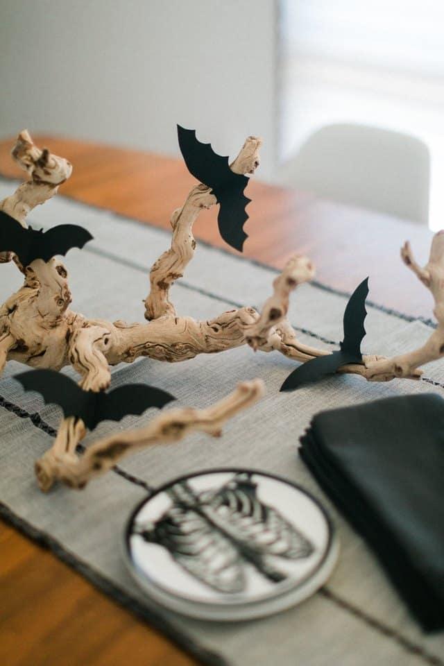 idees diy pas chères pour halloween deco de table chauve souris