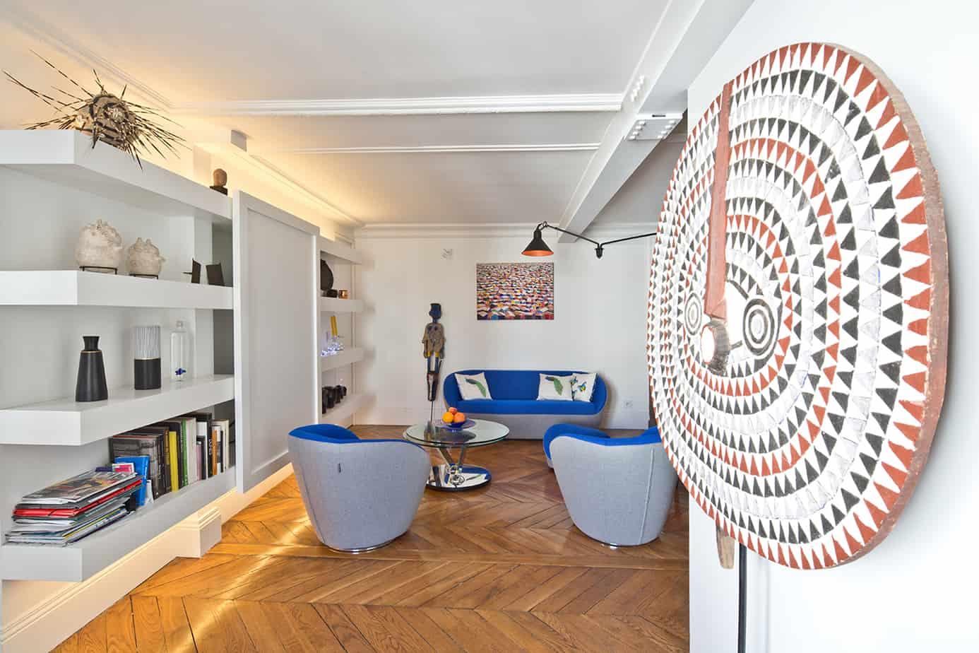 sejour visite dun appartement parisien © Jonathan Letoublon Architecte Antonin Ziegler via Archibien 13 - Visite d'un appartement Archibien à Paris