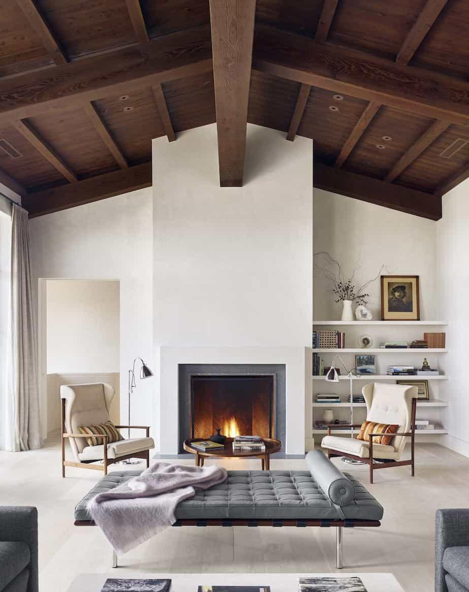 amenagement du salon avec cheminée