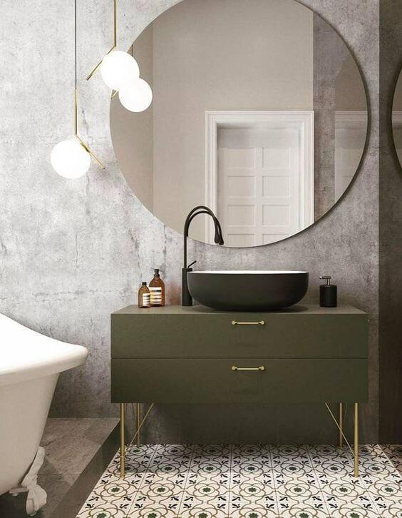 salle de bain design avec meuble sous vasque vert - Choisir les meubles de la salle de bains