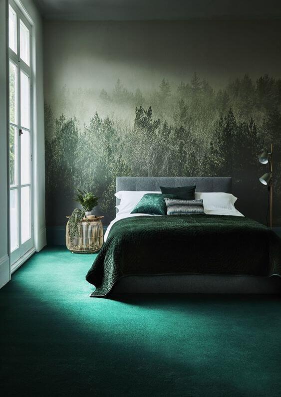 papier peint panoramique inspiré de la foret dans la chambre  - 10 styles de papier peint panoramique à couper le souffle