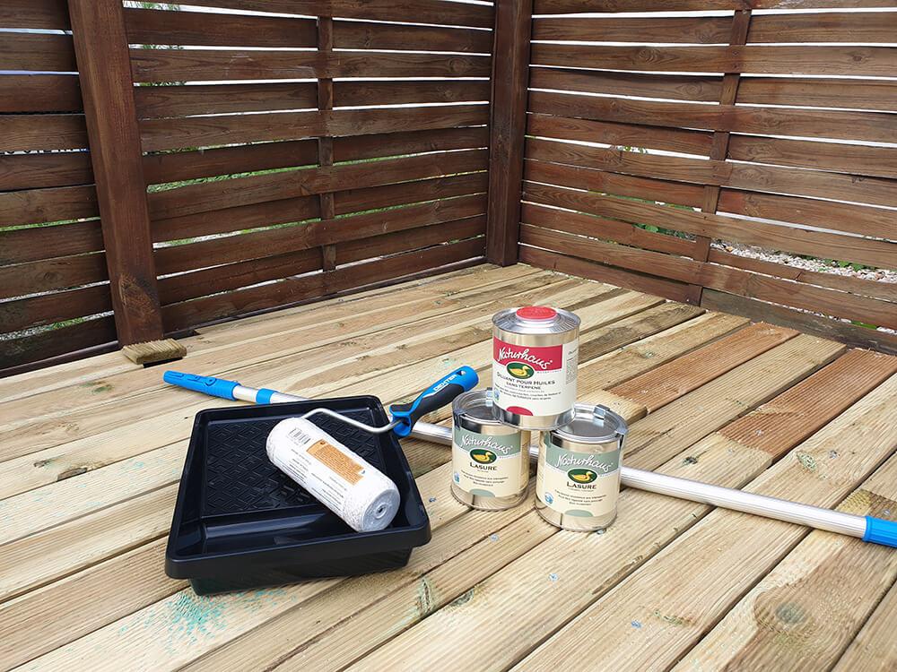 lasure extérieure peinture naturelle et matériel dapplication - Construire une terrasse en bois