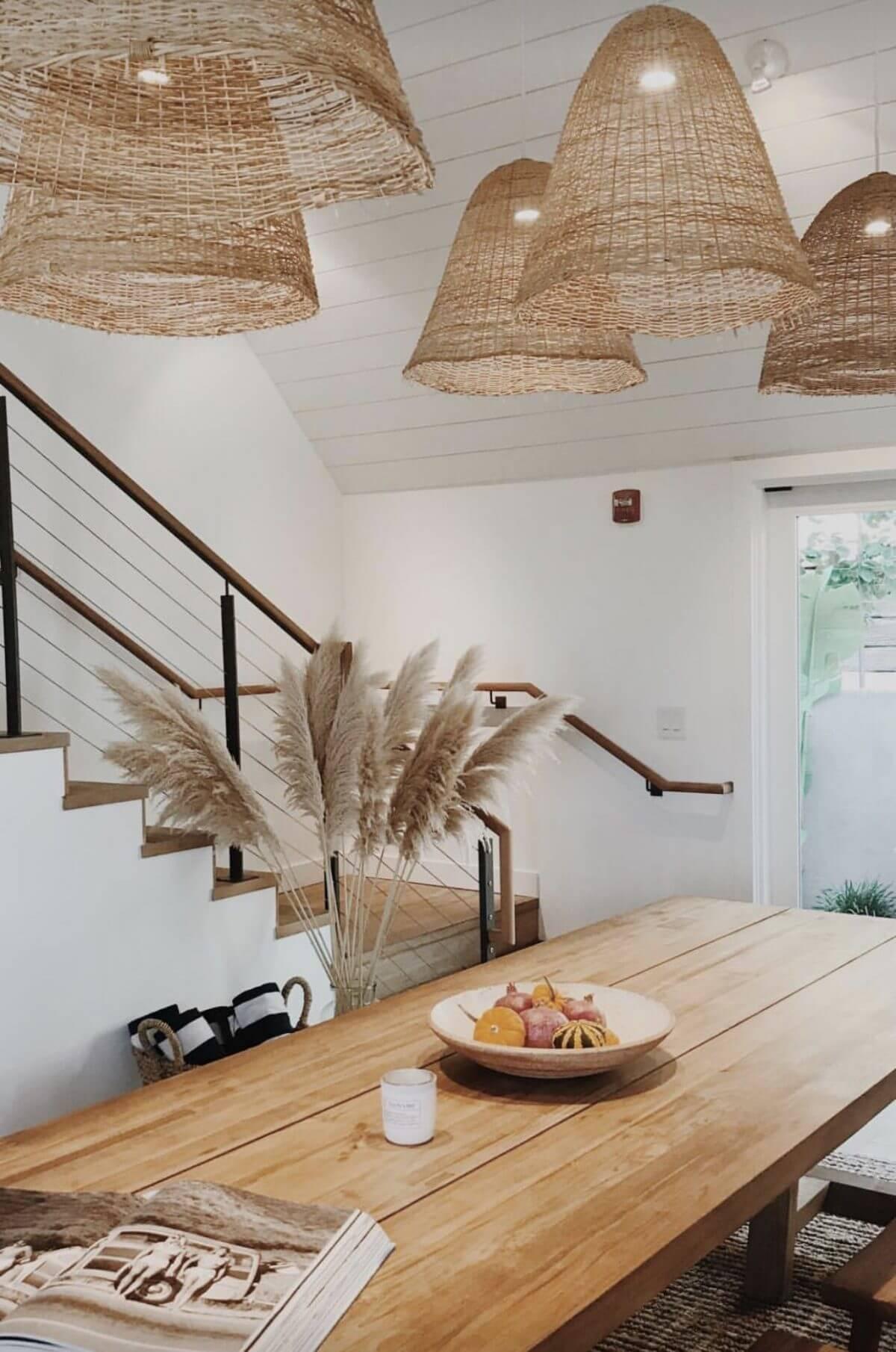 clairage intérieur dune salle à manger avec des suspension en fibres naturelles 2 - 6 règles à connaître pour réussir l'éclairage intérieur