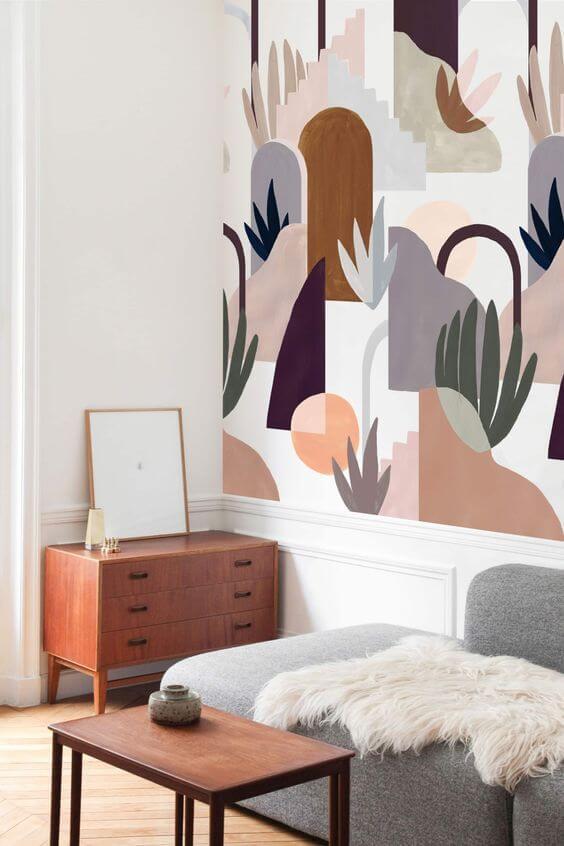 Un papier peint graphique dans le salon pour une déco scandinave - Quel papier peint pour mon salon ?