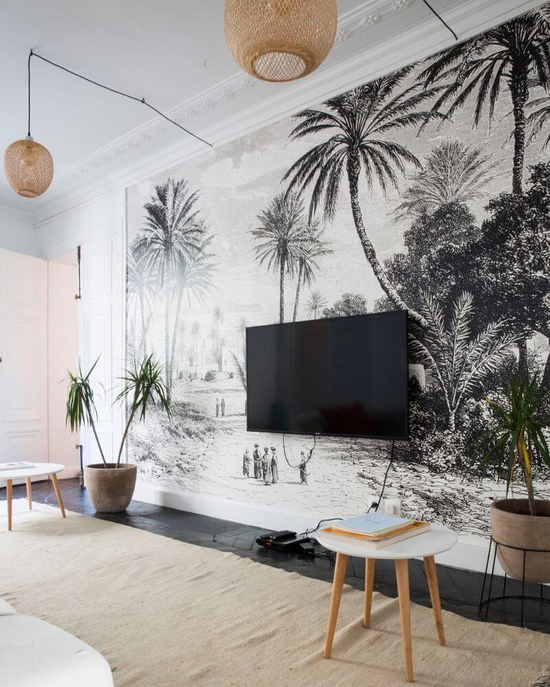 un papier peint tropical pour un salon bohème - Quel papier peint pour mon salon ?